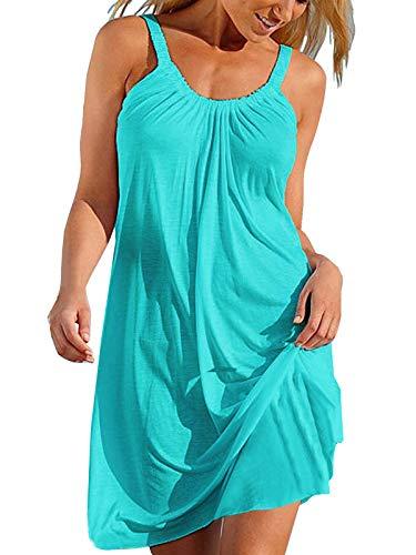 Cindeyar Damen Sommerkleid Lose Casual Kleid Rundkragen Strandkleid Kleider MiniKleid, XL, Grün