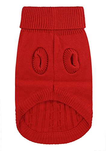 FakeFace Hunde Strickjacke, Winterpulli Hunde Strickpullover Bekleidung Hundepulli Winter Pullover Warm und komfortable Chihuahua Haustier Rot Blau Braun