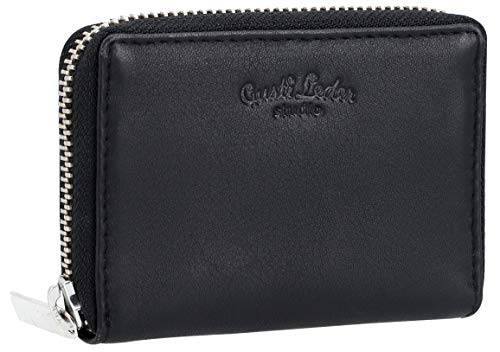 Gusti ABEL Small Wallet Leather Card Case for Men and Women Black