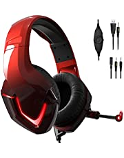 NEEDONE K19 Wired Black RGB Gaming Headset with Mic for PS4 PS5 Xbox one Nintendo Switch PC iPad MAC Laptop Red Over Ear Stereo Sound Gaming Headphone with Noise Cancelling Microphone LED Light USB