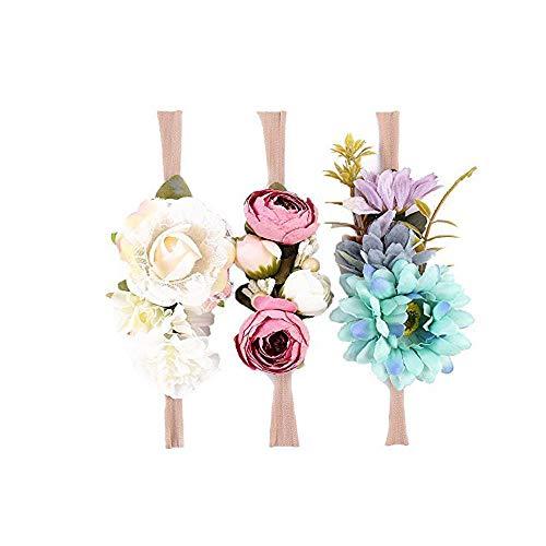 Ever Fairy Raffhalter Blumen Krone ELASTISCH Blumen Stirnband Baby Mädchen Blumenmuster Krone Kranz Neugeborenes Haarzubehör Party Versorgungen - 3 Farben Packung - D, One...