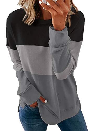 BLENCOT Sweat-shirt pour femme sans capuche, col rond, pour femme, automne hiver, printemps, S-XXL - Noir - XXL
