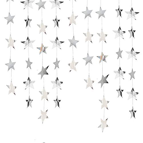 Lacheln Star Party Decorations Birthday Baby Shower Christmas Hanging Paper Garland (Glossy Silver,26 Feet)