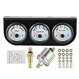 aqxreight - Kit triplo manometro da 52 mm, indicatore dell'acqua in volt olio, pressione d...