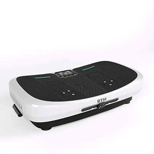 BTM 7D振動マシン 床保護マット・エクササイズバンド・リモコン付き フィットネスマシン 超高速微振動 従揺れ 横揺れ 1年保証 振動力4900回/分 超静音 脂肪燃焼 ダイエット 体幹強化 耐荷重150KG (ホワイト)