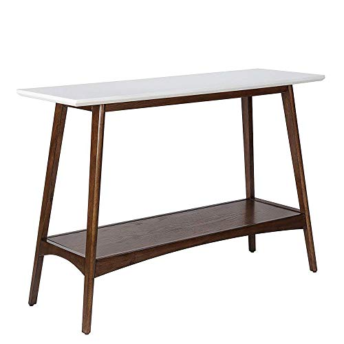 Madison Park Parker Console Tables-Solid Wood, Two-Tone Finish with Lower Storage Shelf Modern Mid-Century Accent Living Room Furniture, Medium, Off-White/Pecan
