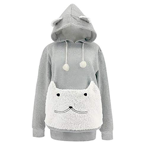 Womens Cat Sweater Animal Pouch Rose Hot Load Long Sleeve Hooded Top Blouse Sweatshirt Blouse (Gray,...