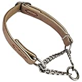beanspet 犬 ハーフチョーク 2層革 首輪 犬首輪 革 おしゃれ かわいい 大型犬 犬の首輪 いぬ くびわ レザー 犬用品 (S, グレージュ)