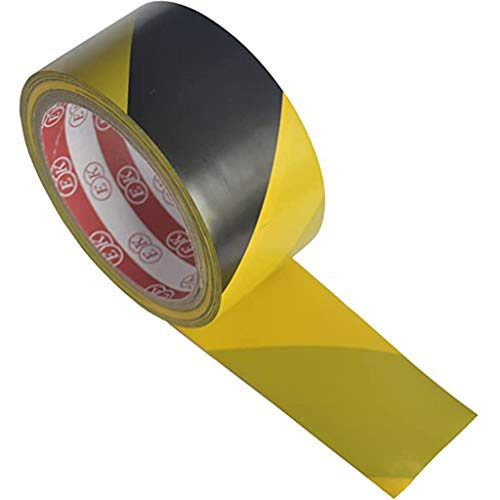 karrychen 4.8cmx33m High Strength Adhesive Sticker Black Yellow Safety Warning Floor Tape