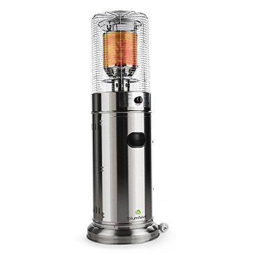 blumfeldt Heatwave V2V - Terrassenheizstrahler, Gasheizstrahler, 2 Heizstufen: 5000 oder 11000 Watt, Propan- oder Butangasbetrieb, Gasflasche: max. 11 kg, witterungsbeständig, Silber