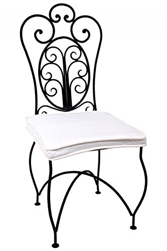 ORIGINAL Orientalischer Stuhl Gartenstuhl aus Metall Schwarz Cordoba | Marokkanischer Balkonstuhl Inkl. Sitzkissen Stuhlkissen | Eisenstuhl als Bistrostuhl | Mediterrane Deko im Garten oder Balkon