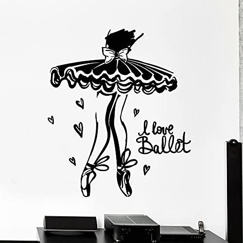 HGFDHG Amo Le Decalcomanie della Parete del Balletto del Fumetto Ballerina Ballerina Ragazza Camera da Letto Sala da Ballo Decorazione della casa Adesivi in Vetro per finestre in Vinile