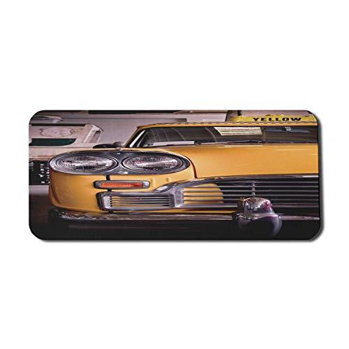 Alfombrilla de ratón para computadora New York, imagen de un taxi amarillo antiguo Elemento histórico de la cabina vintage Nostalgia de la vieja ciudad de Nueva York, alfombrilla rectangular de goma a