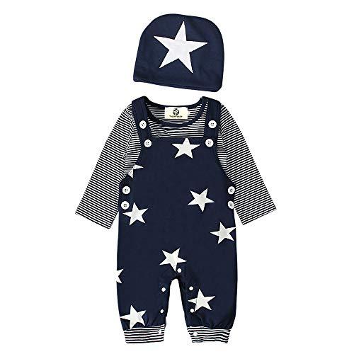 T TALENTBABY Prämie Reine Baumwolle Set Kleidung, Neugeborenes Baby Strampler Star Kleidung Sets, Hosen Tops Hut Cute Jumpsuit Outfit Body, Blau, 0-3 Monate