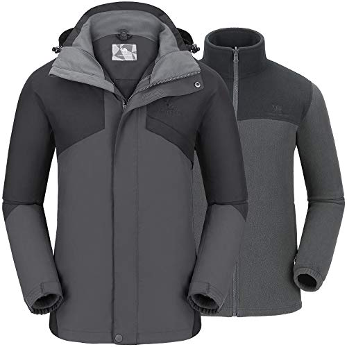 CAMEL CROWN Herren Ski 3-in-1 Jacke 2 Stück Set Outdoor Funktionsjacke Freizeitjacke mit Fleece Jacke, Wasserdicht Winddicht Winterjacke mit Kapuze