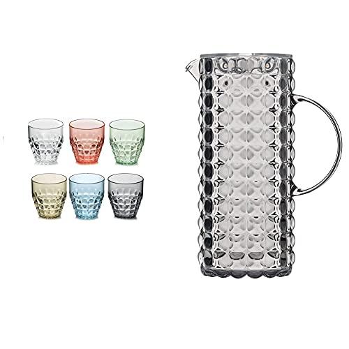 Guzzini Set 6 Bicchieri Bas Tiffany Assorted & Caraffa Tiffany, Grigio Cielo, 11.5 X 18.5 X H25.5 Cm