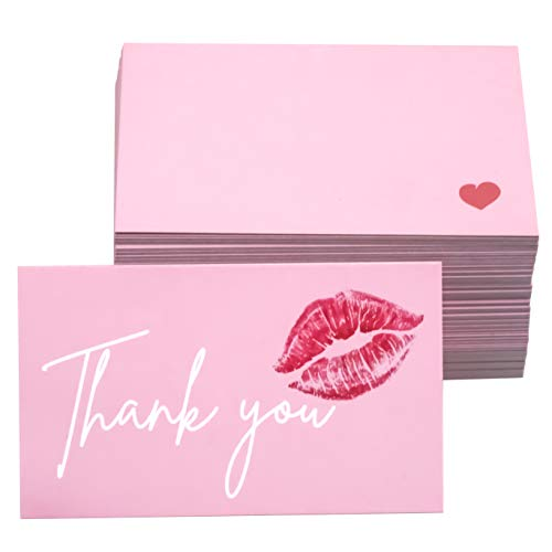 RXBC2011 Thank You for Your Purchase Cards red lips Kiss sweet Package Insert for online business Pack of 100, Pink