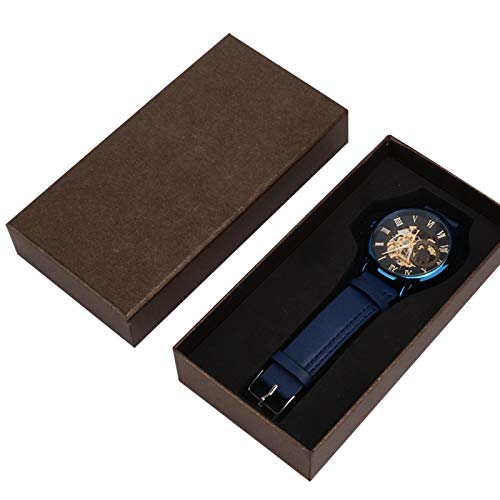 EVTSCAN Reloj de Pulsera FORSINING para Hombre, diseño Retro Minimalista, mecánico automático, Resistente al Agua, Relojes de Negocios, Correa de Cuero PU