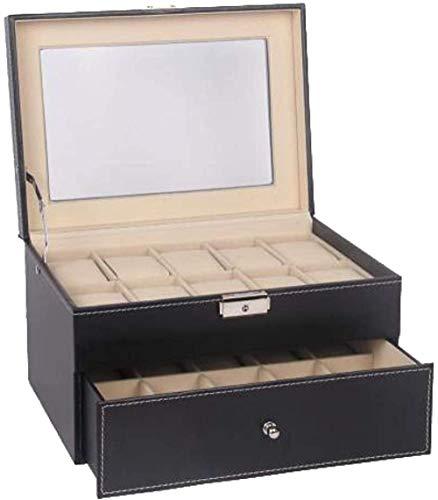 T.T-Q 20 Caja de Reloj de Cuero Cajas para Relojes Caja de Reloj de Vidrio con Techo corredizo Caja de Almacenamiento de Embalaje para Almacenamiento y visualización 28 * 20 * 16,5 cm