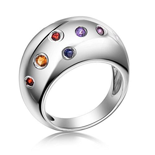 hutang Jewelry massiv 925Sterling Silber mehrfarbig Edelsteinen Ring