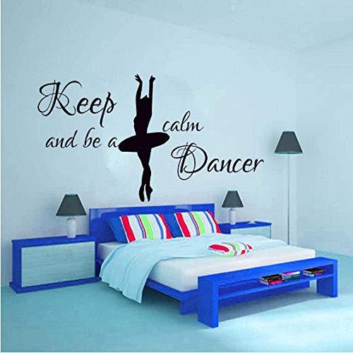 Gardez votre calme et soyez un danseur autocollant mural danseurs décor à la maison ballerine Silhouette sticker mural chambre décoration pour fille 57Cmx32Cm