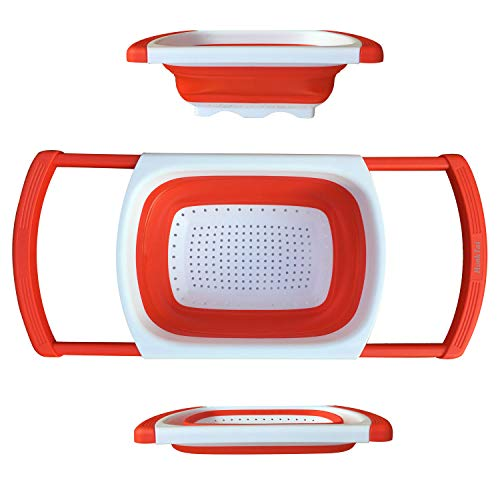 Colander Collapsible, HonkTai Colander Strainer Over the Sink Food Colanders Strainers with Extendable Handles, 6-Quart, Kitchen Foldable Strainer for Pasta,...