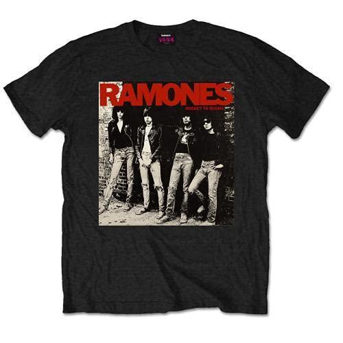 Unbekannt Ramones Rocket to Russia Camiseta, Schwarz/Schwarz, L/L para Hombre