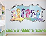 My Little Pony Group Wall Decal Sticker - Kids Wall Decal Decor - Art 3D Vinyl Wall Decal - AH220 (Large (Wide 40' x 24' Height))
