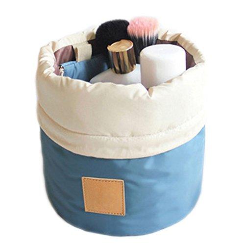 DELEY Reise Kit Drawstring Zylindrische Cosmetic Toiletry Bag Make Up Pinsel Schmuck Aufbewahrungstasche Blau