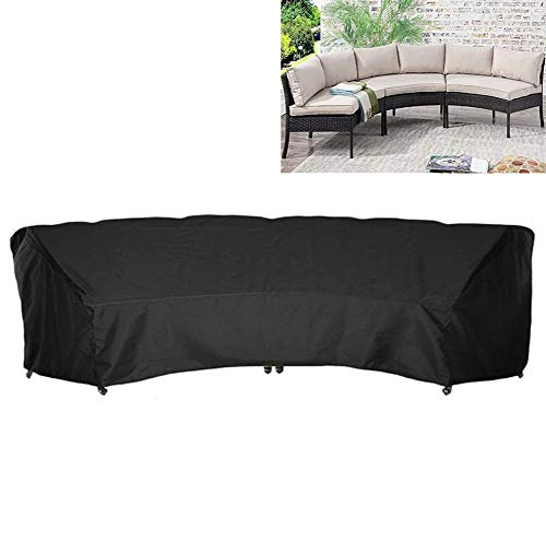 SFSGH Half-Moon Garden Furniture Cover Outdoor Curved Sofa Cover 210D Oxford Waterproof Sectional Curved Sofa Protector,Black,305x99x91cm