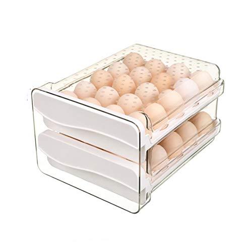 Estante de huevos para refrigerador de 40 compartimentos, contenedor de huevos de plástico, bandeja de huevos tipo cajón doble, caja de almacenamiento fresca del refrigerador