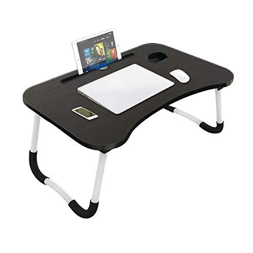 Vockvic Laptop Tisch, Faltbar Laptop-Betttisch Notebook Tisch Verstellbarer Tablett Bett Laptopständer mit Tassenschlitz, Lapdesk Notebook Lese Tisch für Bett und Sofa, 60 * 40cm