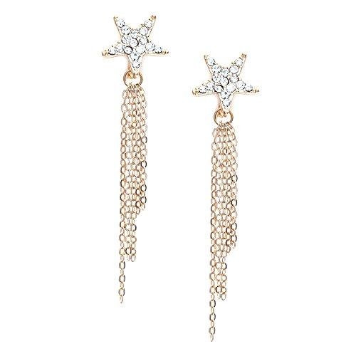 Idin Jewellery,orecchini a clip a forma di stella con diamanti e catena pendente