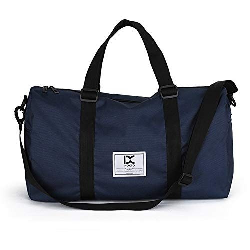 HXXBY Fashion outdoor trolley luggage bag for business travel, one-shoulder messenger bag, large-capacity men's multi-purpose handbag (Color : Blue)