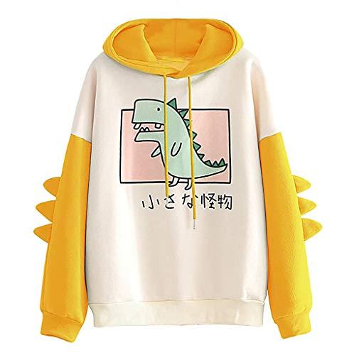 HOTHONG Hoodies Sweat A Capuche Femme Sweat-Shirts Top Chaud Hiver Pull Hauts à Manches Longues Et éPissure Dinosaure Chemise Chemisier