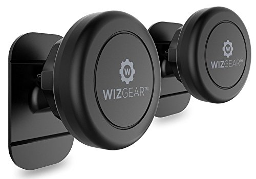 WizGear Magnetic Phone Car Mount, Universal Stick On (2 Pack) Dashboard Magnetic Car Mount Holder, for Cell Phones and Mini Tablets with Fast Swift-snap Technology, Magnetic Cell Phone Mount