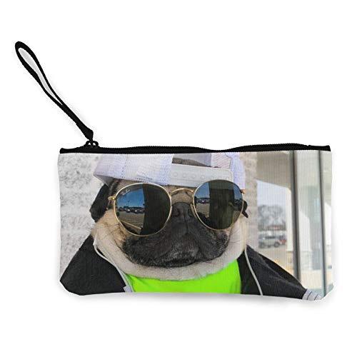 Moneda de lona, bolso de perro con cremallera, bolsa de cosméticos de viaje multifunción, bolsa de maquillaje para teléfono móvil, bolsa de lápiz con asa