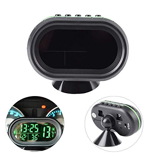 Yosoo Multi-Functional 12V Car Auto LCD Digital Clock Thermometer Temperature Voltage Meter Monitor (Green)