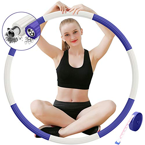 DUTISON Hula Hoop Reifen Fitness Erwachsene, Hula Hoop 8 Knoten abnehmbares Design mit Mini maßband,Hula Hoop Reifen ist für Erwachsene und Kinder Bewegung (Breit 48–88 cm) - weiß blau/1 kg