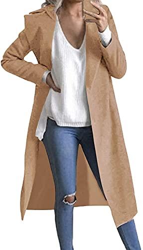 Gabardina de Manga Larga para Mujer, Abrigo de Guisante, Solapa, Abierto, Chaqueta Larga, Abrigo, Chaqueta, Chaqueta (Camel,XXL)