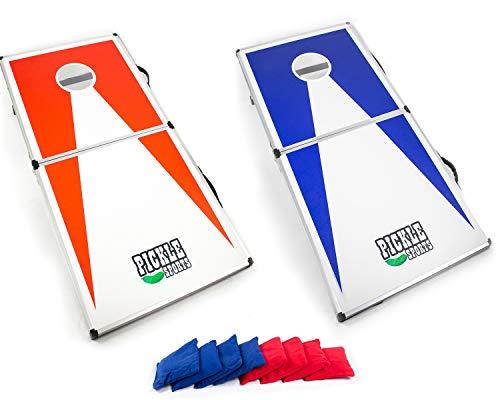 FORBIDDEN ROAD Cornhole Bolsa de Bean Bags Paquete de 8 para Que sacude Core Juegos Agujero con Pato Lienzo Material de la Cubierta y PP gr/ánulos de Gris Rojo