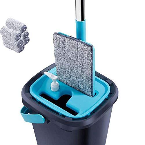 BUDBYU Juego de fregona y cubeta 2 en 1 con mopa con 6 Almohadillas de Microfibra separadas para Limpiar el Agua Sucia, autolavable, Secado eficiente, fácil de almacenar, Auto Escritura, C