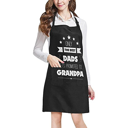 InterestPrint Funny Father's Day Gift Apron Only The Best Dads Get Promoted To Grandpa Adjustable Bib Kitchen Apron for Grandpa Grandfather with Pockets for Cooking Baking, Large Size