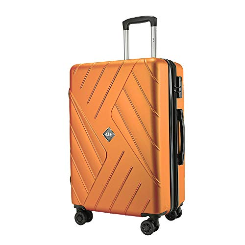 ATX Luggage 24' Medium Super Lightweight Durable Expandable ABS Hardshell Hold Suitcases Trolley Case Hold Check in Travel Bags with 8 Wheels & Built-in Lock (24'/67cm Medium (Expandable), Orange)