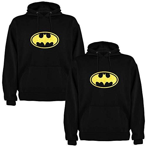 Pack de 2 Sudaderas Negras para Parejas Batman Dorado