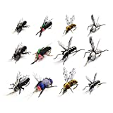 Mosche di pesca a mosca realistica Set secco Mosquito Bottle Flies Bumble Wasp Steelhead Rainbow Trout kit di richiamo di pesca a mano Flyfishing (1-Realistic Mosquito & Bottle Fly Set di 12 mosche)