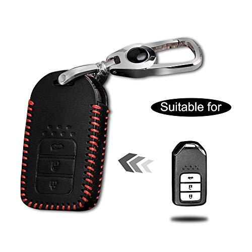 Carcasa Cuero para Llave Honda 3 Botones Llave Control Remoto Inteligente línea roja con Llaveros 1 PC Modelo B