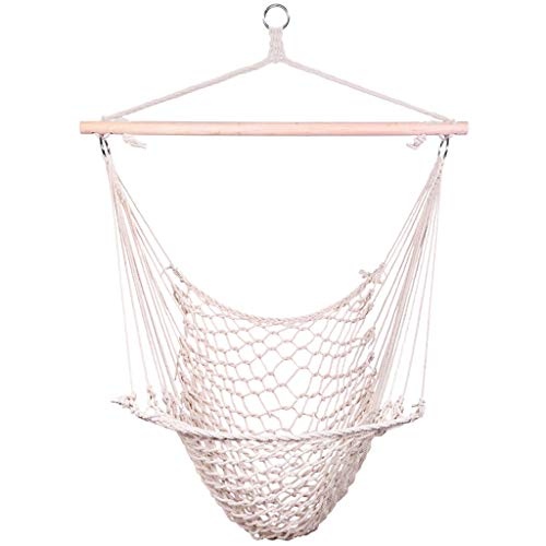 Hammock Chair with 330lbs Capacity, Quality Cotton Net Weave, Hammock Swing for Kids, Garden Theme Decoration, Swing Chair Perfect for Indoor/Outdoor, Patio, Deck, Yard, Traveling (US Stock)