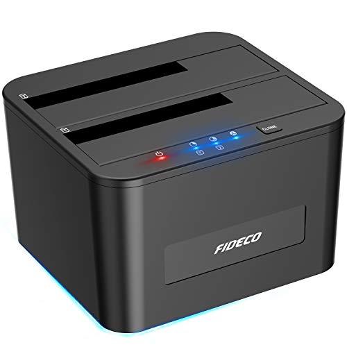 FIDECO Festplatten Dockingstation, USB3.0 SATA HDD Dockingstation für 2,5 und 3,5 Zoll SATA HDD/SSD, Dualschacht, Unterstützt Offline-Klonen, UASP und 2X 16TB Laufwerke