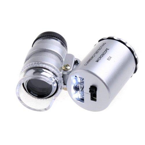 lesuzza (TM) 60 x poche Loupe Microscope Loupe LED devise UV Lampe loupe en verre avec LED New 2015 microscopio grossissant
